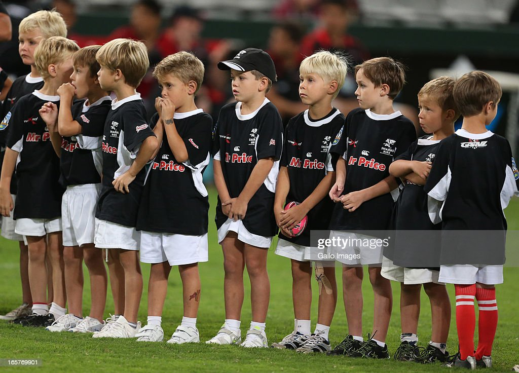 Sharks kids are shown on the field during the Super Rugby match between The Sharks and Crusaders from Kings Park on April 05, 2013 in Durban, South Africa.