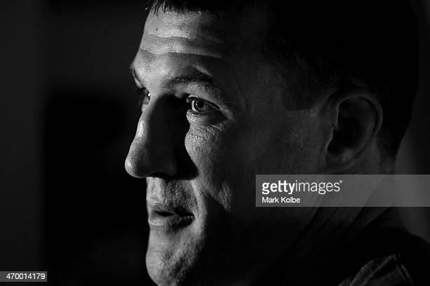 Sharks rugby league player Paul Gallen speaks to the media after his weigh in for his first professional fight during the official weigh in ahead of...