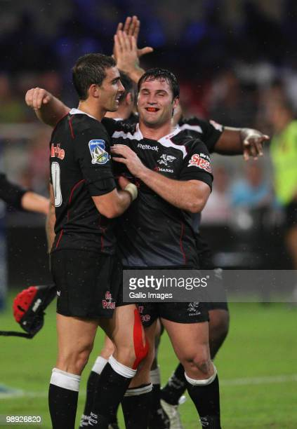 Sharks teammates Ruan Pienaar and Riaan Swanepoel celebrate during the Super 14 match between Sharks and Vodacom Stormers at Absa Stadium on May 08...