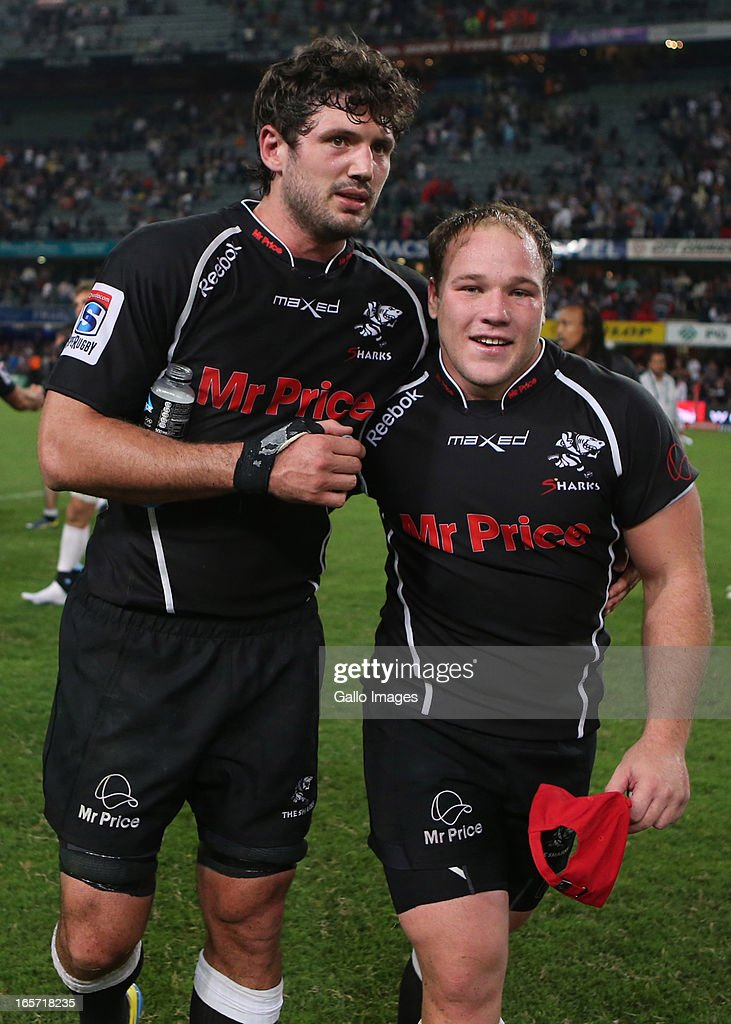 Sharks team-mates Ryan Kankowski with Man Of The Match Kyle Cooper during the Super Rugby round eight match between the Sharks and Crusaders from Kings Park on April 05, 2013 in Durban, South Africa.