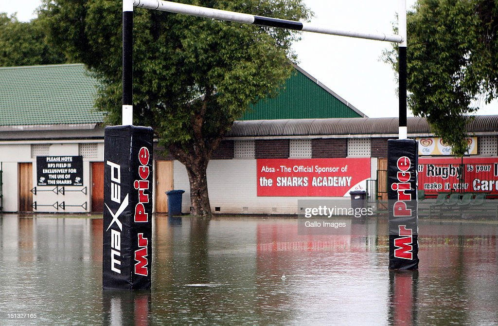 A Sharks training session is postponed due to a flooded pitch at Mr Price KINGS PARK on September 06, 2012 in Durban, South Africa.