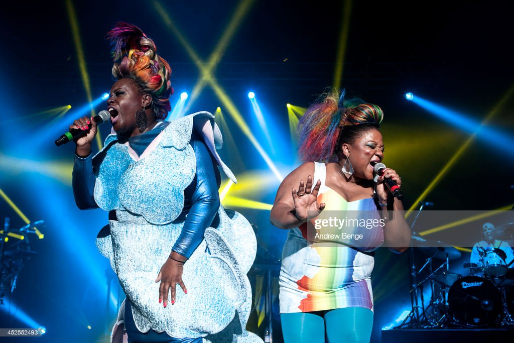 Sharlene Hector and Vula Malinga of Basement Jaxx perform on stage at Manchester Apollo on November 29, 2013 in Manchester, United Kingdom.
