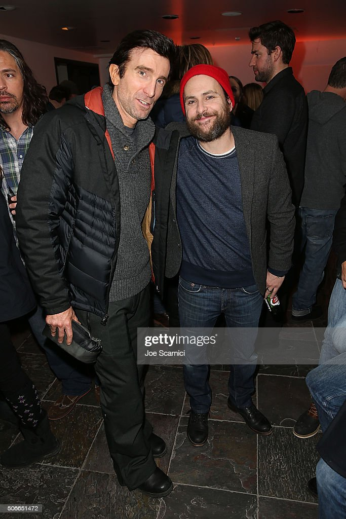 Sharlto Copley and Charlie Day attend 'The Hollars' Premiere Party at The Acura Studio at Sundance Film Festival 2016 on January 24 2016 in Park City...