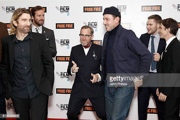 Sharlto Copley Armie Hammer Michael Smiley Enzo Cilenti Jack Reynor and Cillian Murphy attend the 'Free Fire' Closing Night Gala screening during the...