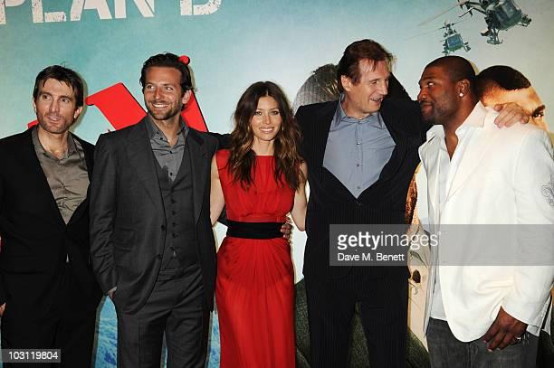Sharlto Copley Bradley Cooper Jessica Biel Liam Neeson and Quinton 'Rampage' Jackson attend the UK Film Premiere of 'The ATeam' at Empire Leicester...