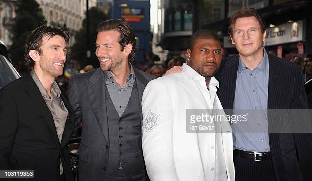 Sharlto Copley Bradley Cooper Quinton Jackson and Liam Neeson attend the UK Film Premiere of 'The ATeam' at Empire Leicester Square on July 27 2010...