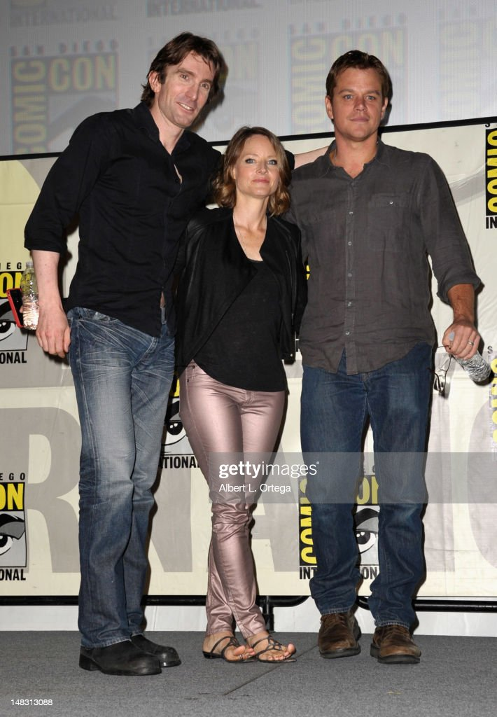 Sharlto Copley, Jodie Foster, and Matt Damon speak during Sony's 'XXX' panel during Comic-Con International 2012 at San Diego Convention Center on July 13, 2012 in San Diego, California.