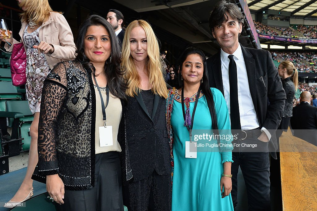 Sharmeen Obaid-Chinoy, Creative Director of Gucci Frida Giannini, Humaira Bachal and CEO of Gucci Patrizio di Marco pose inside the Royal Box at the 'Chime For Change: The Sound Of Change Live' Concert at Twickenham Stadium on June 1, 2013 in London, England. Chime For Change is a global campaign for girls' and women's empowerment founded by Gucci with a founding committee comprised of Gucci Creative Director Frida Giannini, Salma Hayek Pinault and Beyonce Knowles-Carter.