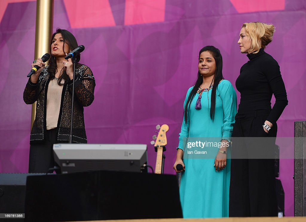 Sharmeen Obaid-Chinoy, Humaira Bachal and singer Madonna on stage at the 'Chime For Change: The Sound Of Change Live' Concert at Twickenham Stadium on June 1, 2013 in London, England. Chime For Change is a global campaign for girls' and women's empowerment founded by Gucci with a founding committee comprised of Gucci Creative Director Frida Giannini, Salma Hayek Pinault and Beyonce Knowles-Carter.