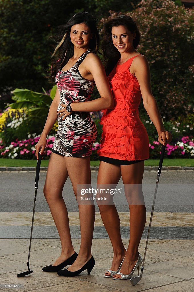 Sharmila Nicollet of India and Maria Verchenova of Russia for a picture at the gala dinner after the third round of the Evian Masters at the Evian Masters golf club on July 23, 2011 in Evian-les-Bains, France.