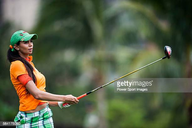 Sharmila Nicollet of India practices at the Mission Hills Celebrity ProAm on 24 October 2014 in Haikou China