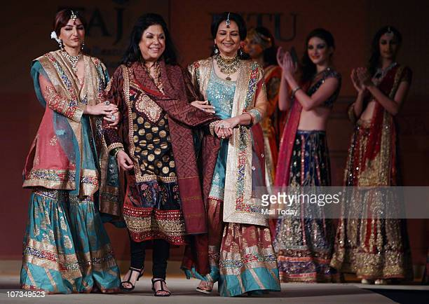 Sharmila Tagore and her daughter Soha Ali Khan with designer Ritu Kumar at her show presented by American Express and the Taj Group of Hotels
