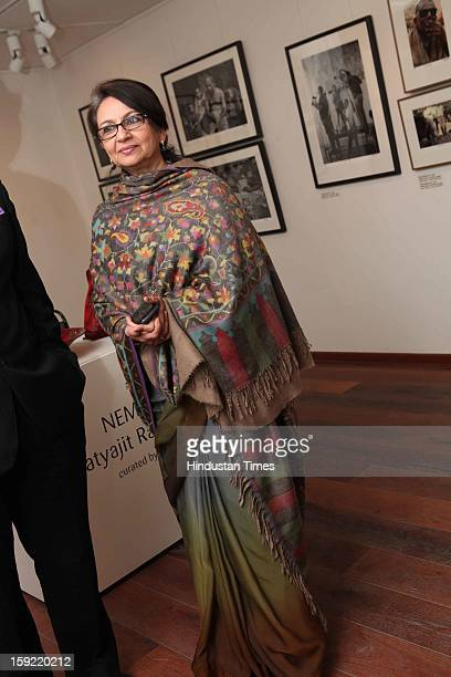Sharmila Tagore during the Photo exhibition titled Nemai Ghosh Satyajit Ray and Beyond at Delhi Art Gallery Hauz Khas Village on January 7 2013 in...