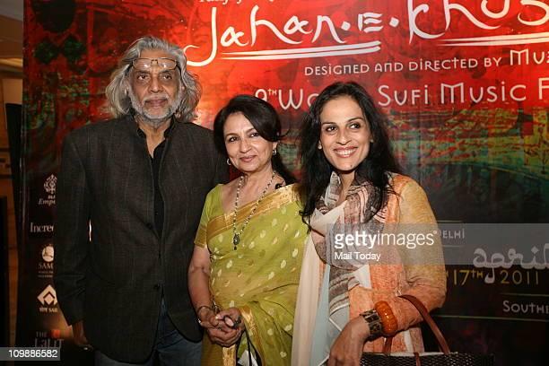 Sharmila Tagore flanked by Muzaffar Ali and his wife Meera Ali at a curtain raiser for the upcoming JahaneKhusrau Festival at DLF Emporio