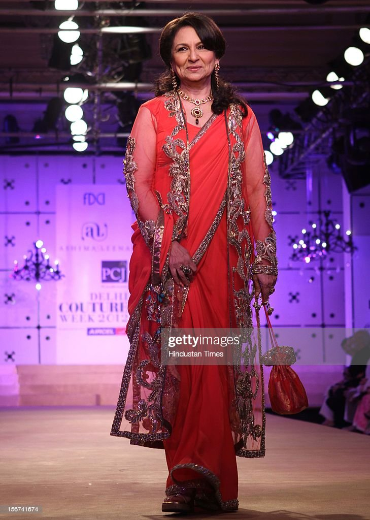 'NEW DELHI, INDIA - AUGUST 9: Sharmila Tagore walk the ramp for Indian designers Asheema and Leena show during the second day of on going couture week at Taj Palace on August 9, 2012 in New Delhi, India. (Photo by Jasjeet Plaha/Hindustan Times via Getty Images)'