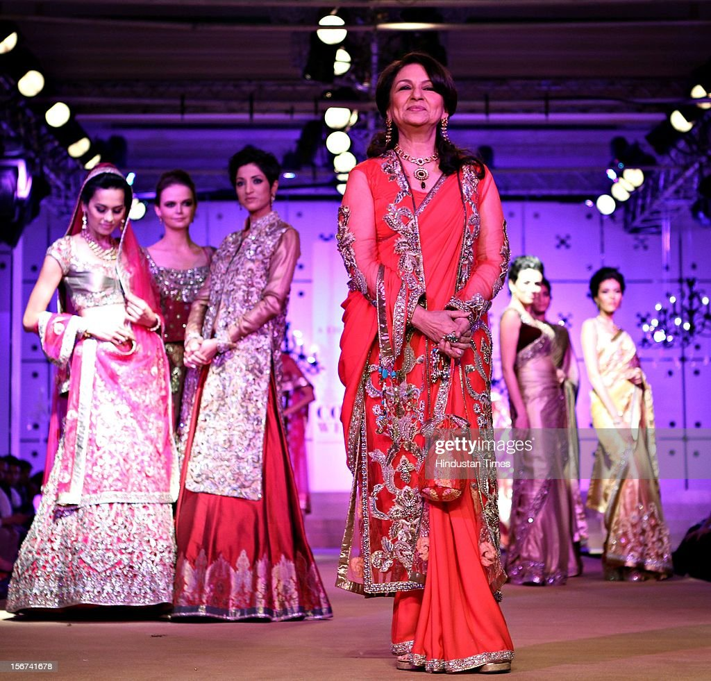 Sharmila Tagore walk the ramp for Indian designers Asheema and Leena show during the second day of on going couture week at Taj Palace on August 9, 2012 in New Delhi, India. (Photo by Jasjeet Plaha/Hindustan Times via Getty Images)'