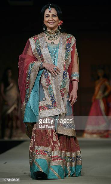 Sharmila Tagore walks the ramp for designer Ritu Kumar at a show presented by American Express and the Taj Group of Hotels