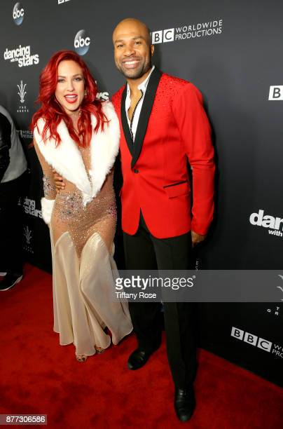 Sharna Burgess and Derek Fisher at The Grove Hosts Dancing with the Stars Live Finale at The Grove on November 21 2017 in Los Angeles California