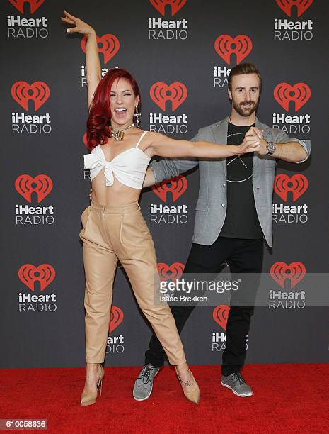 Sharna Burgess and James Hinchcliffe attends the 2016 iHeartRadio Music Festival at TMobile Arena on September 23 2016 in Las Vegas Nevada