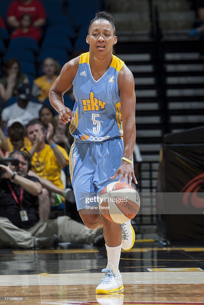 Sharnee' Zoll #5 of the Chicago Sky brings the ball up court against the Tulsa Shock during the WNBA game on June 20, 2013 at the BOK Center in Tulsa, Oklahoma.