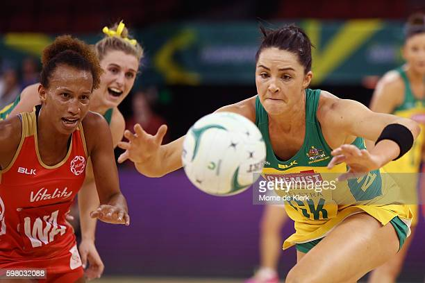 Sharni Layton of the Diamonds competes for the ball with Serena Guthrie of the Roses during the International Test match between the Australian...