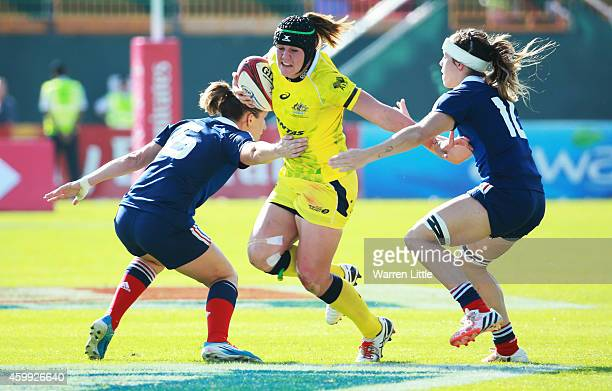 Sharni Williams of Australia in action against France during the IRB Women's Sevens Rugby World Series at the Emirates Dubai Rugby Sevens on December...