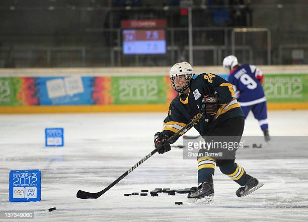 Sharnita Crompton of Australia in the passing precision of the Ice Hockey Skills Challenge at Olympiaworld on January 19 2012 in Innsbruck Austria
