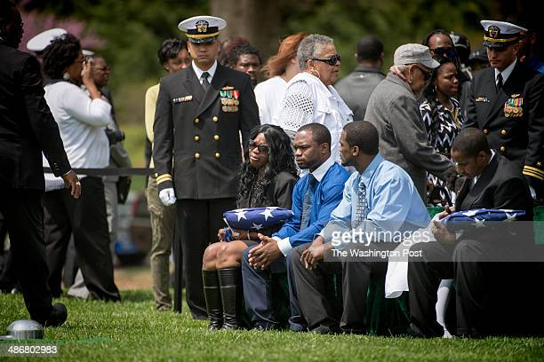 Sharon Blair and Decondi Mayo and dozens of family members attend the memorial service for United States Navy MasteratArms 2nd Class Mark A Mayo at...