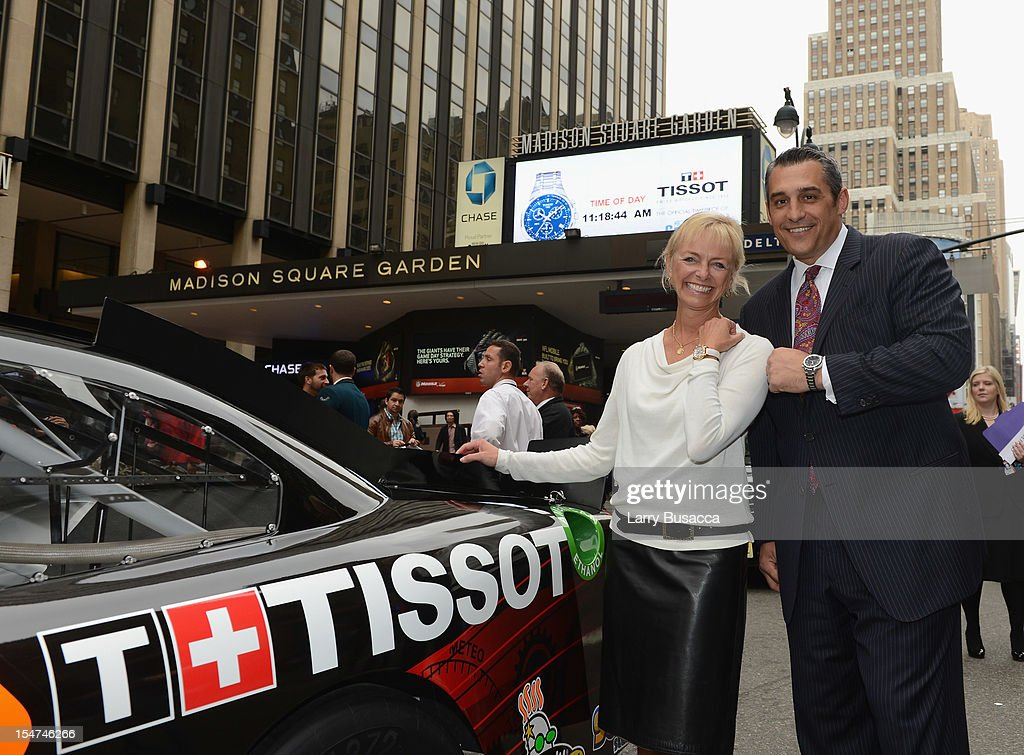 Sharon Buntain and Greg Economou Join Tissot Swiss Watches To Unveil The Brand's New Lobby Clocks on October 25, 2012 in New York City.