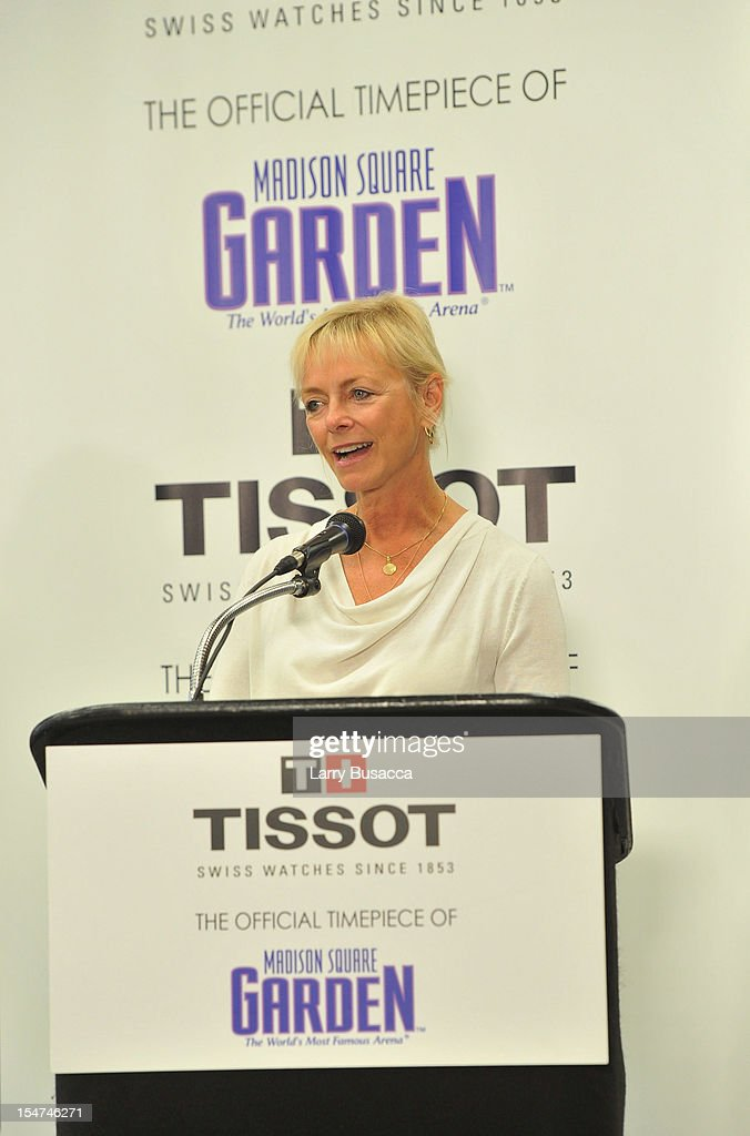 Sharon Buntain, Us President Tissot Swiss Watches, speaks at Tissot Swiss Watches Unveil The Brand's New Lobby Clocks on October 25, 2012 in New York City.