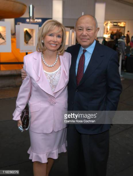 Sharon Bush and Gerald Stai during Olympus Fashion Week Fall 2005 Seen at Bryant Park Day 1 at Bryant Park in New York City New York United States