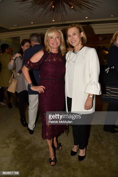 Sharon Bush and Judy Gordon Cox attend the launch of Second Bloom Cathy Graham's Art of the Table hosted by Joanna Coles and Clinton Smith at...