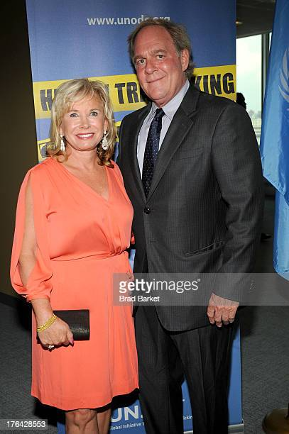 Sharon Bush and Oscar Plotkin attend Lifetime's 'Baby Sellers' New York screening reception at the United Nations on August 12 2013 in New York City