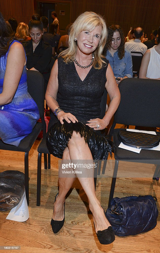 <a gi-track='captionPersonalityLinkClicked' href=/galleries/search?phrase=Sharon+Bush&family=editorial&specificpeople=217522 ng-click='$event.stopPropagation()'>Sharon Bush</a> is seen on the front row at the Douglas Hannant fashion show during Mercedes-Benz Fashion Week Spring 2014 on September 11, 2013 in New York City.