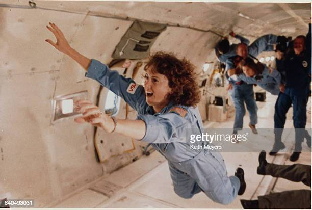 Sharon Christa McAuliffe a teacher who was to become the first citizen observer/payload specialist in space trains for the Space Shuttle Challenger...