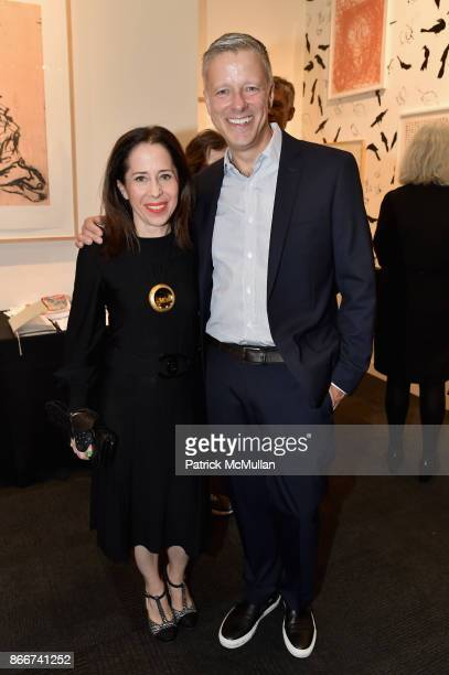 Sharon Cohen and Phil Kovacevich attend the IFPDA Fine Art Print Fair Opening Preview at The Jacob K Javits Convention Center on October 25 2017 in...