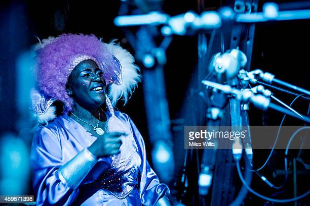 Sharon D Clarke playing Charity provides backing vocals behind the scenes during a performance of Mother Goose at Hackney Empire on December 2 2014...