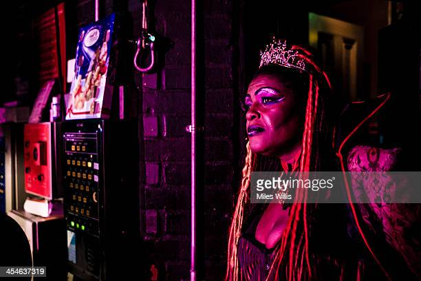 Sharon D Clarke playing 'Wicked Queen Talulah' waits stage right during the Puss in Boots pantomime at the Hackney Empire on December 6 2013 in...