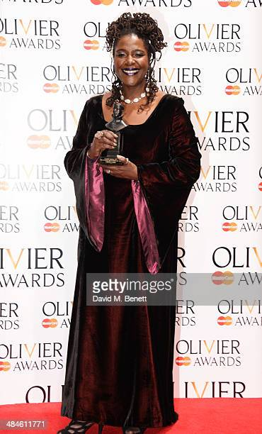 Sharon D Clarke winner of Best Actress in a Supporting Role for 'The Amen Corner' poses in the press room at the Laurence Olivier Awards at The Royal...