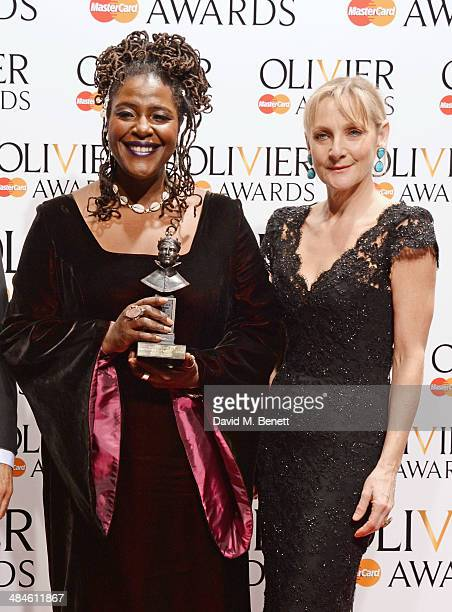 Sharon D Clarke winner of Best Actress in a Supporting Role for 'The Amen Corner' poses with presenter Lesley Sharp in the press room at the Laurence...