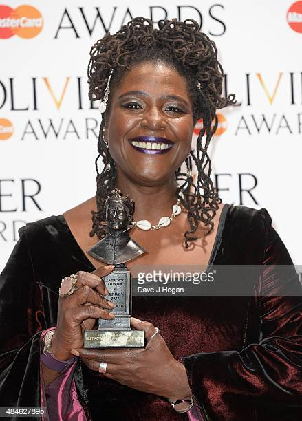 Sharon D Clarke with her Best Actress in a Supporting Role award for The Amen Corner during the Laurence Olivier Awards at the Royal Opera House on...