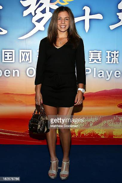 Sharon Fichman of Canada arrives on the red carpet before the player party for the 2013 China Open at the InterContinental Hotel Beijing Beichen on...