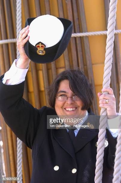 Sharon Hall from Fareham near Portsmouth who is a MasteratArms in the Royal Navy celebrates on board Nelson's flagship HMS Victory after winning 1...