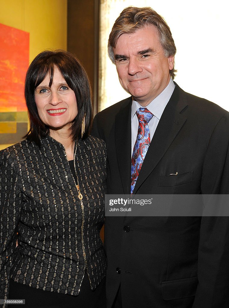 Sharon Harroun Peirce and Bob Peirce attend a Golden Globe lunch hosted by BritWeek chairman Bob Peirce honoring Julian Fellowes, Gareth Neame and Michelle Dockery at Four Seasons Hotel Los Angeles at Beverly Hills on January 12, 2013 in Beverly Hills, California.