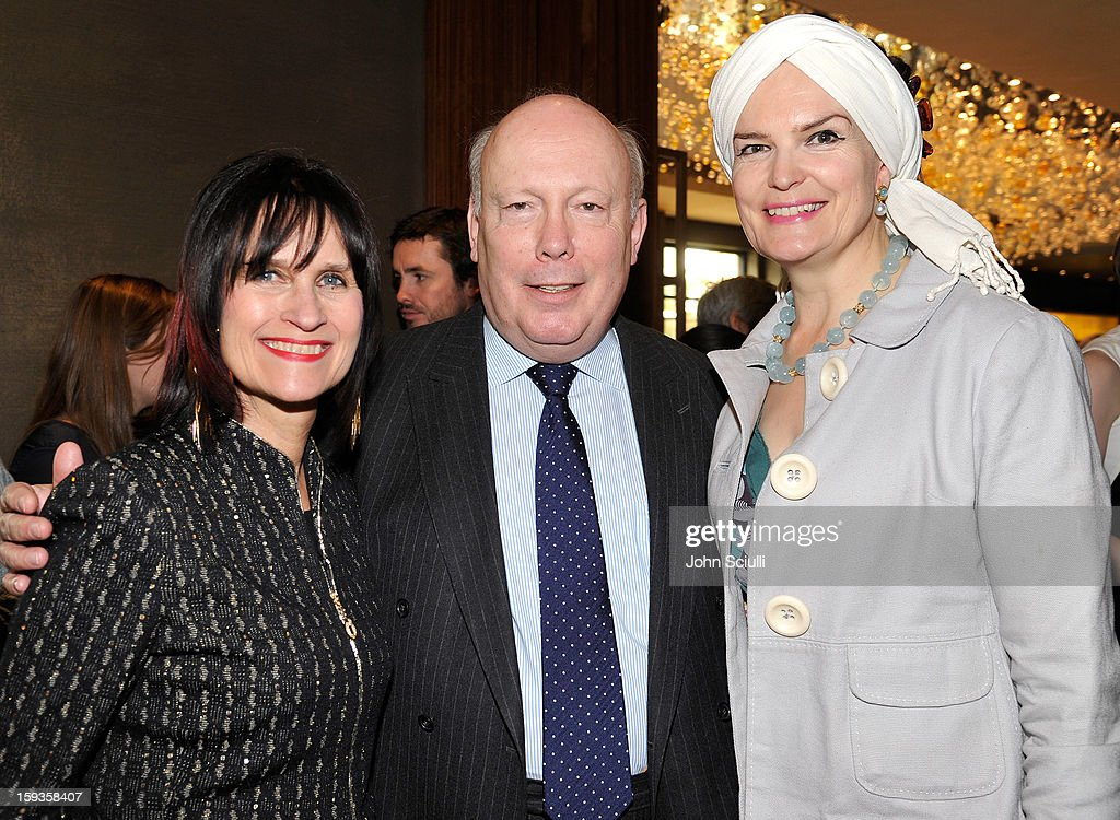 Sharon Harroun Peirce Julian Fellowes and Emma Joy Kitchener attend a Golden Globe lunch hosted by BritWeek chairman Bob Peirce honoring Julian Fellowes, Gareth Neame and Michelle Dockery at Four Seasons Hotel Los Angeles at Beverly Hills on January 12, 2013 in Beverly Hills, California.