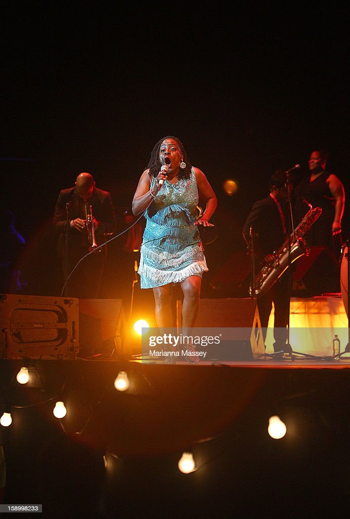 Sharon Jones and The Dap Kings perform on stage on opening day of the Sydney Festival January 5, 2013 in Sydney, Australia. Sydney festival opening, previously 'Sydney Festival First Night', was scaled back from previous years, when crowds reached as many as 60,000 for launch.
