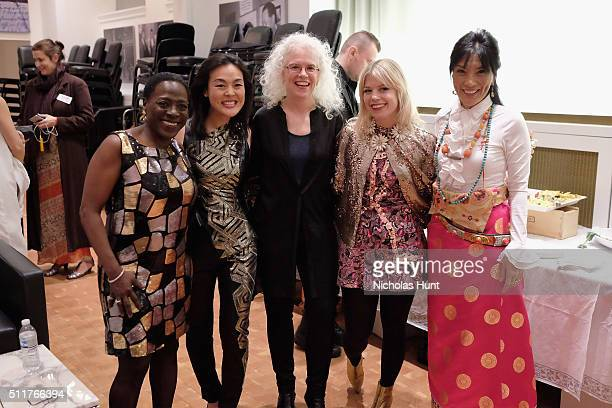 Sharon Jones Lavinia Meijer Martha Mooke Basia Bulat and Dechen ShakDagsay pose backstage at the 26th Annual Tibet House US benefit concert at...