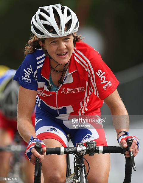 Sharon Laws of Great Britain rides in the 2009 UCI Road World Championships Elite Women's Road Race on September 26 2009 in Mendrisio Switzerland