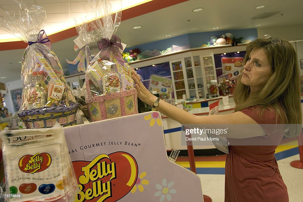 Sharon Lee looks over candy and Easter baskets for sale at the Jelly Belly Factory April 2, 2007 in Fairfield, California. The Jelly Belly Factory produces approximately 14 billion jelly beans a year. With less than a week before Easter Sunday, retailers stock their shelves full of jelly beans, chocolates, and other traditional candies for Easter.