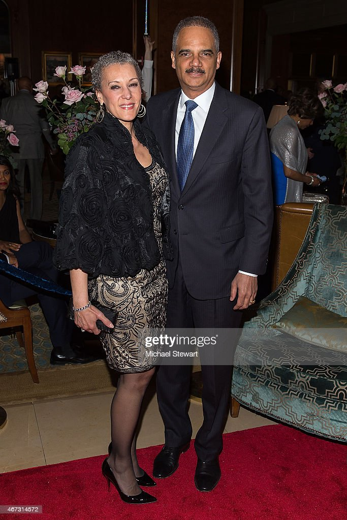 Sharon Malone (L) and United States Attorney General <a gi-track='captionPersonalityLinkClicked' href=/galleries/search?phrase=Eric+Holder&family=editorial&specificpeople=1060367 ng-click='$event.stopPropagation()'>Eric Holder</a> attend Aretha Franklin's Birthday Celebration at the Ritz Carlton Hotel on March 22, 2015 in New York City.